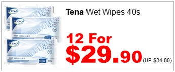 Tena Wetwipe 40s 12for2990